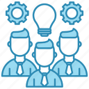 bulb, corporate business, group, idea, lamp, skills, team icon