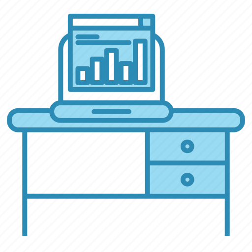 chart, corporate business, device, table, workplace icon