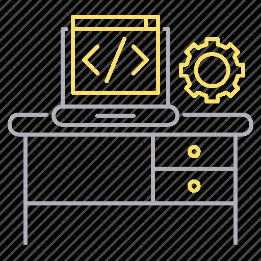 code, computer, corporate business, development, script, workplace icon