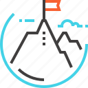 achievement, flag, goal, mission, mountain, success, target icon