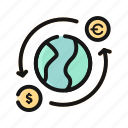 banking, currency, dollar, exchange, finance, money, transfer icon