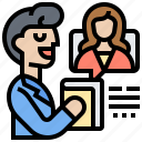 consulting, conference, online, service, video icon