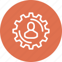 development, gear, person, production, productivity, work, workflow icon
