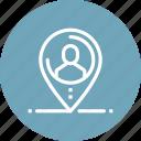 distance, job, location, navigation, outsource, person, recruitment icon