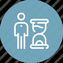 clock, deadline, management, optimization, person, productivity, time icon