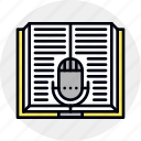 audio, book, education, lesson, microphone, study icon