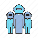 android, artificial intelligence, humanoid, robots, teamwork icon