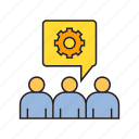 cog, gear, people, supporter icon