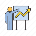 chart, graph, growth, presentation, whiteboard icon