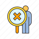 ban, human resource, magnifier, recruiting, wrong icon