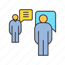 communication, meeting, people, speech bubble, talk icon