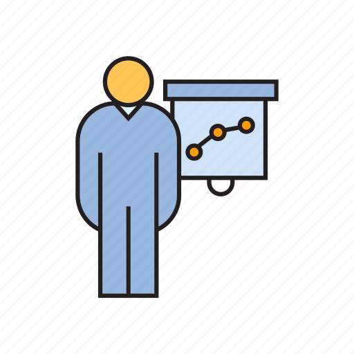 chart, graph, office, people, present icon