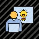 creative, idea, light bulb, office, working