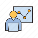 chart, graph, laptop, monitoring, office, present, working icon