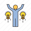creative, idea, light bulb, people, success icon