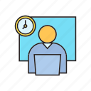 clock, laptop, office, working, working hours icon