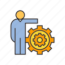 cog, gear, people, system icon