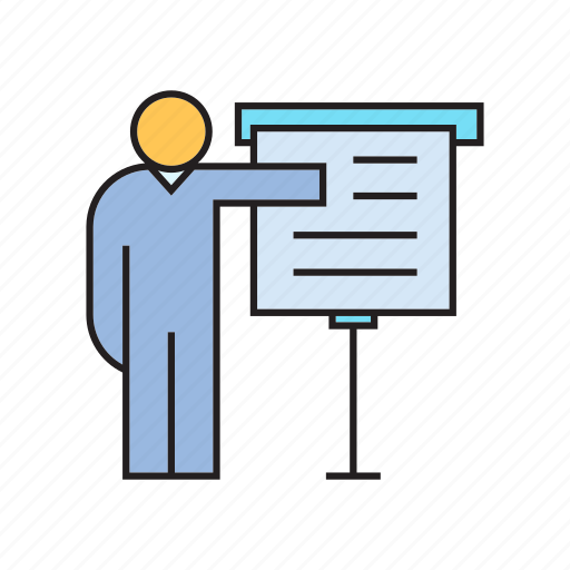 office, people, presentation, report, whiteboard icon