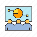 conference, market share, monitoring, pie chart, whiteboard icon