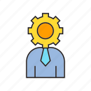 administrator, business man, gear, management, office, people, worker icon