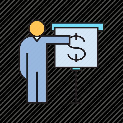 dollar, finance, people, present, whiteboard icon