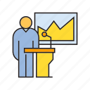 chart, conference, graph, podium, presentation, reporter, speaker icon