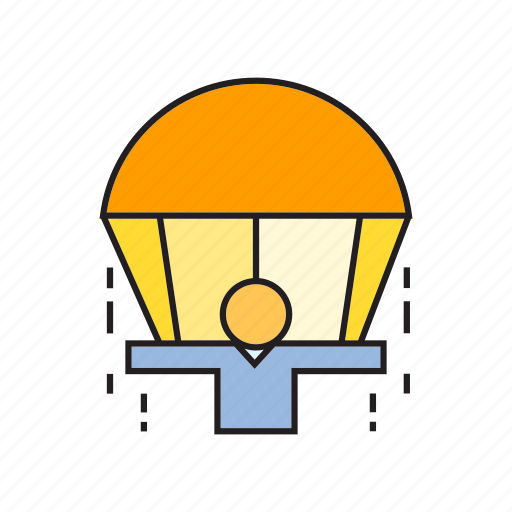 aerial, jump, parachute, people icon