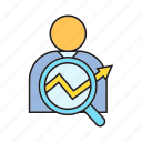 search, people, graph, analysis, analytics, user, magnifier icon