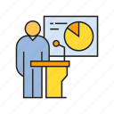 conference, corporate, management, pie chart, podium, present, speaker icon