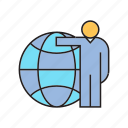 global, globe, man, people, world icon