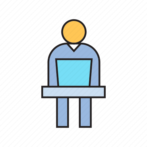 computer, laptop, office man, working icon