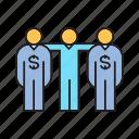 people, dollar, broker, agent, banker, team, dealer icon