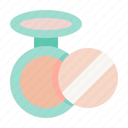 beauty, cosmetic, makeup, powder puff, pressed powder icon