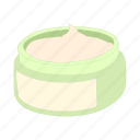 care, cartoon, cosmetic, cream, facial, jar, lotion icon