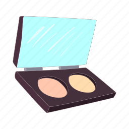 cartoon, compact, cosmetic, makeup, object, powder, skin icon