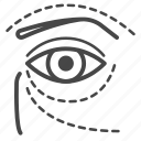 beauty, cosmetic, eye, face, marking, surgery icon