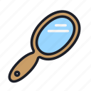 beauty, cosmetic, cosmetics, hand, make up, mirror, reflection icon