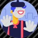 avatar, character, man, halloween, costume, clown, mime