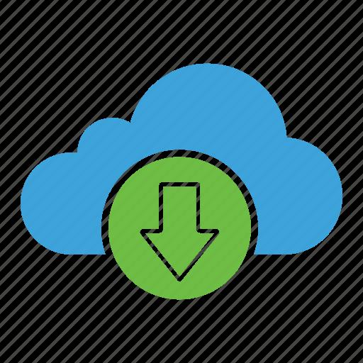cloud computing, cloud storage, download, get, incoming, receive, saving icon