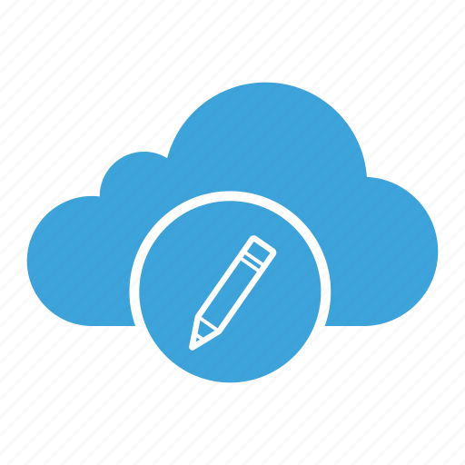 cloud computing, cloud storage, edit, note, pen, pencil, write icon