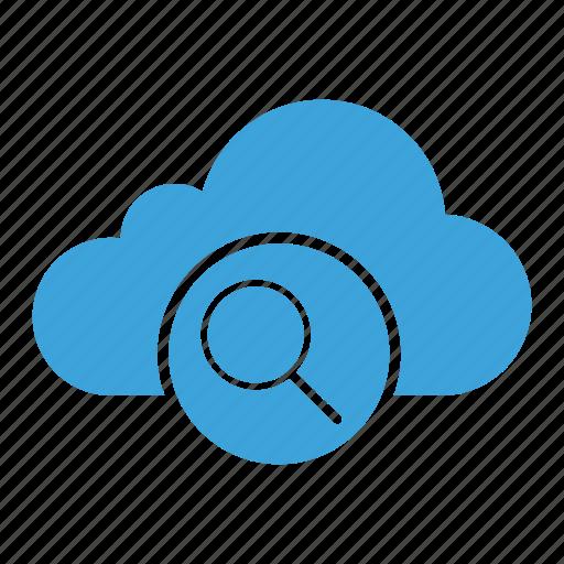 cloud computing, cloud storage, explore, find, loupe, magnifier, search icon