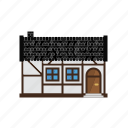 architecture, cottage, countryside, home, house, timberframe icon
