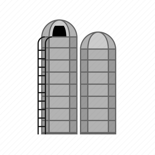 agriculture, architecture, countryside, farm, silos icon