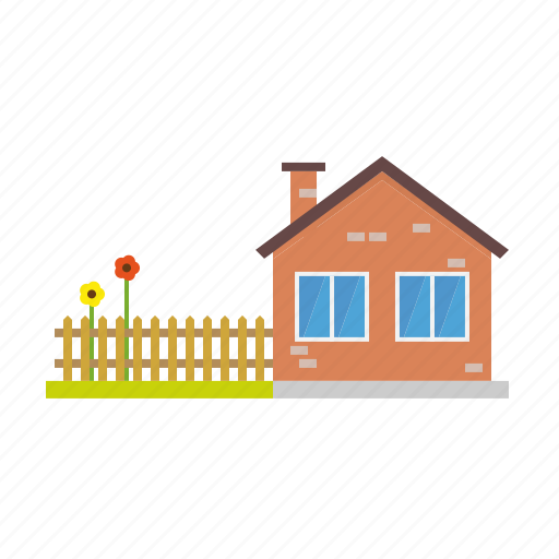 architecture, building, countryside, fence, garden, home, house icon