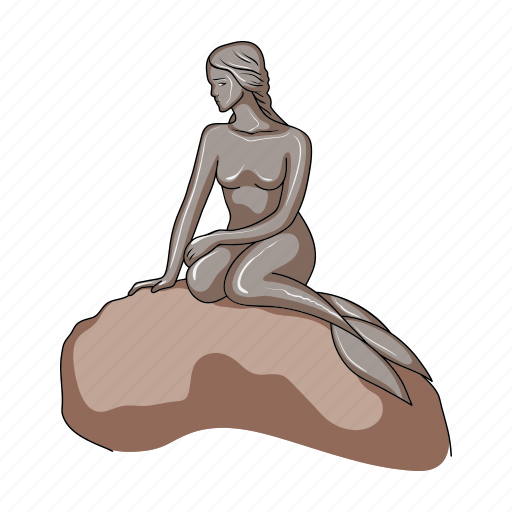 country, denmark, mermaid, sculpture, sightseeing, travel icon