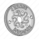 coin, country, crown, denmark, money, sightseeing, travel icon
