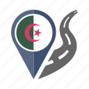 algeria, country, flag, location, nation, navigation, pin icon