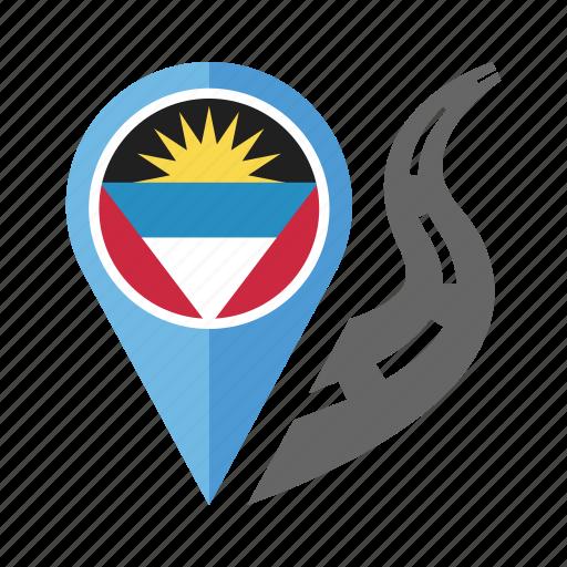 antigua and barbuda, country, flag, location, nation, navigation, pin icon
