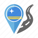 aruba, country, flag, location, nation, navigation, pin icon