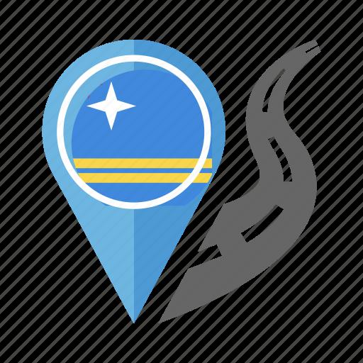 aruba, country, flag, location, nation, navigation, pin icon